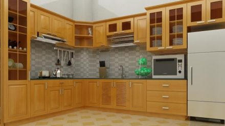 Tủ bếp gỗ sồi Nga SG-005