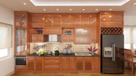 Tủ bếp gỗ xoan đào XD-016
