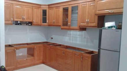 Tủ bếp gỗ sồi Nga SG – 015