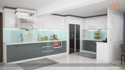 Tủ Bếp Inox Cánh Acrylic Bóng Gương